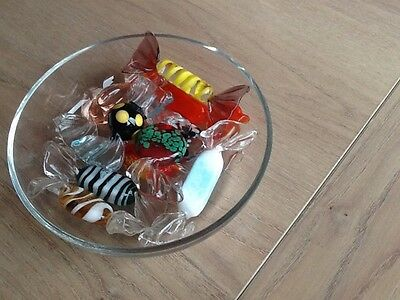 10 Vintage Murano Glass Sweets In A Glass Dish