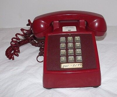 Vintage Red Western Electric 2500DM Push Button Telephone