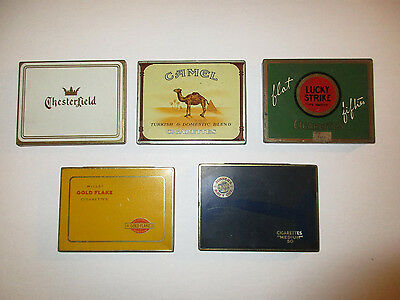 (5) Vintage Cigarette Tins ~Gold Flake, Lucky Strike, Chesterfield, Camel.....