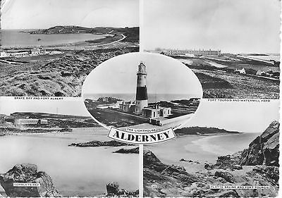 ALDERNEY. Five View Real Photograph Card 1960s Lighthouse, Fort & Farm, Bays GC