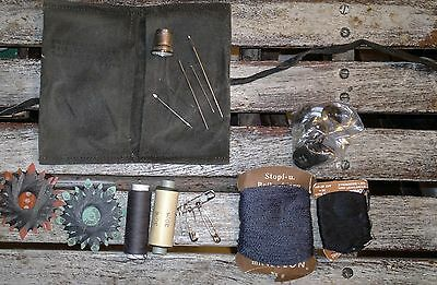 Vintage sewing kit in waxed cotton pouch Bushcraft camping Gentry essential !!
