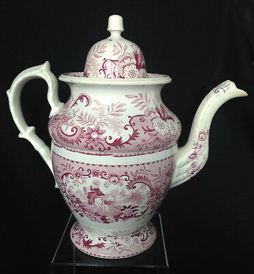 Antique Staffordshire mulberry transferware dome lid coffee pot 1830s
