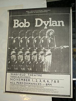 Bob Dylan Show Flyer WarField Theater Bill Graham Ramones SVT Sammy Hagar 1979
