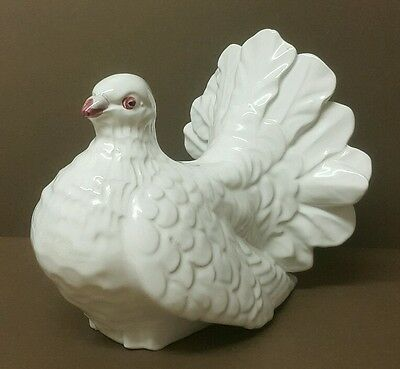 Large PIGEON White Ceramic Figurine Decor - Signed - Portugal - Length: 19 cm