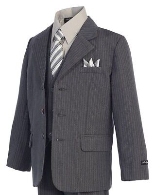 Gray Pinstripe Boys Suit (Sizes 2T - 20) Kids Formal Dress Wear Wedding Recital