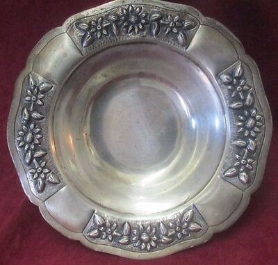 Antique Mexican Sterling Silver Maciel Footed Dish