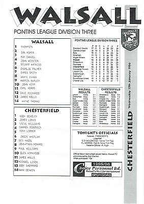 Walsall res v Chesterfield res - 17/01/1996