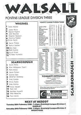 Walsall res v Scarborough res - 14/02/1996