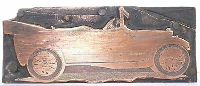 Vintage letterpress Printing Block - A Old Convertible Car Copper Graphic