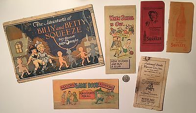 Squeeze Soda Paraphernalia Promotional Story Booklets Ledgers Billy /Betty Dolls