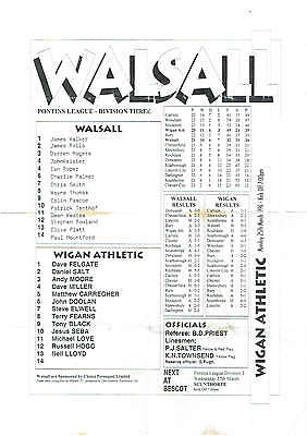 Walsall res v Wigan Athletic res - 25/03/1996