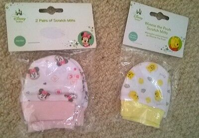 BNIP set of 3 pairs of disney scratch mits for baby girl. Pink/white/yellow 0-3m
