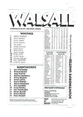 Walsall res v Scunthorpe United res - 27/03/1996