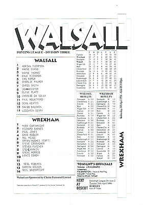 Walsall res v Wrexham res - 24/04/1996
