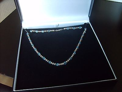 Sterling Silver Beaded Necklace With Blue Swarovski Crystals