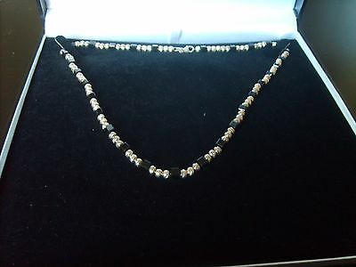 Sterling Silver Beaded Necklace With Black Swarovski Crystals