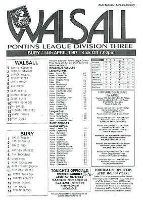 Walsall res v Bury res - 14/04/1997