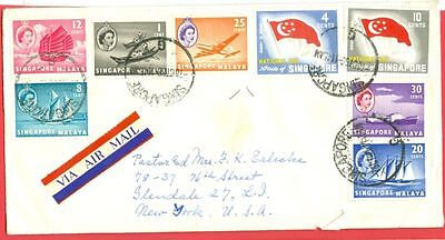 Singapore Malaya + State of Singapore 8 diff stamp Mixed use on cover to USA