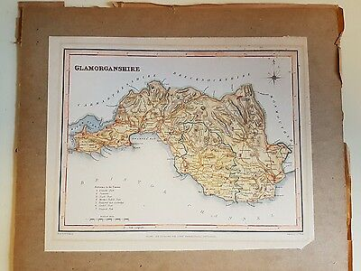 J & C Walker Small Map Of Glamorganshire Dated 1840. Unframed Board Mounted