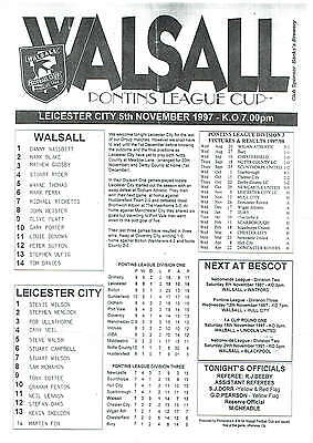 Walsall res v Leicester City res (Pontins League Cup) - 05/11/1997