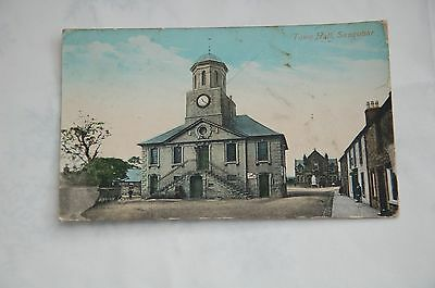 Original Edwardian Hand Tinted Postcard Town Hall Sanquhar Posted