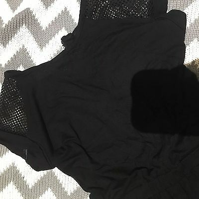 �� Girls  Age 4 5 6 Year Black Jump Suit Play Suit Black Zip Net Mesh Shoulder