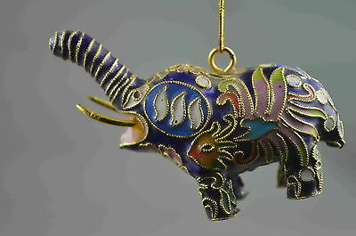 Collectable Handwork Cloisonne Carve Cute Elephant Royal Auspicious Noble Statue