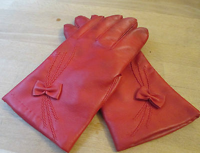 Vtg 60S 70S Red Vinyl Faux Leather Bow Driving Retro Gloves 7 1/2
