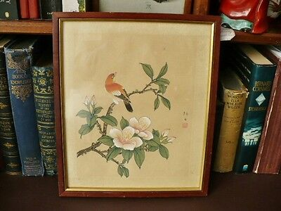 Vintage Oriental / Chinese Painting On Silk - Bird In Cherry Blossom
