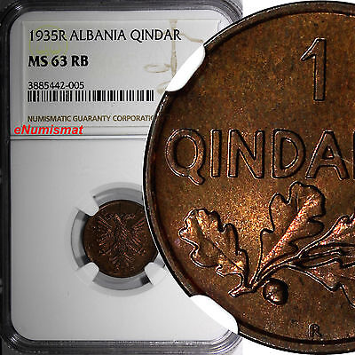 Albania Zog I Bronze 1935-R Qindar Ar NGC MS63 RB ONE YEAR TYPE KM# 14