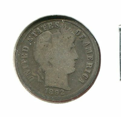 1892 P Barber/Liberty Head 90% Silver Dime  (Combined Shipping $2.95)