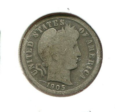 1905 S Barber/Liberty Head 90% Silver Dime  (Combined Shipping $2.95)