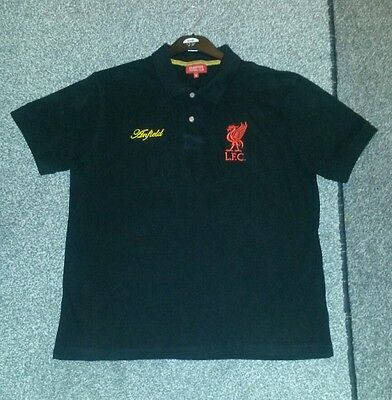 Liverpool FC LFC Anfield Liverbird Mens Black Polo Shirt Official Large
