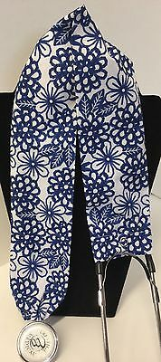 Blue & White  Print MD RN EMT LPN Stethoscope Cover  Buy 3 GET FREE SHIP US Only