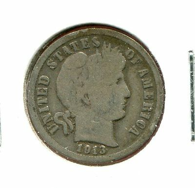 1913 P Barber/Liberty Head 90% Silver Dime  (Combined Shipping $2.95)