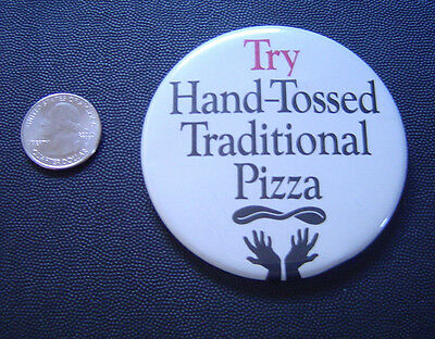 Vintage Pizza Hut 1988 Button Pin Try Hand-Tossed Traditional Pizza