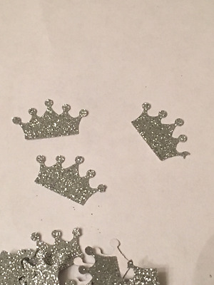 100 hand punched crowns - silver glitter
