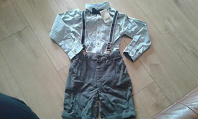 next boys outfit shorts shirt with bowtie bnwts 5/6 years