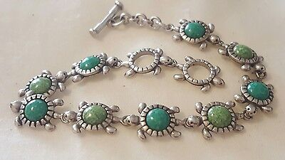 Carolyn Pollack Relios CPR Sterling Silver Turquoise Turtle Toggle Bracelet 7.5""