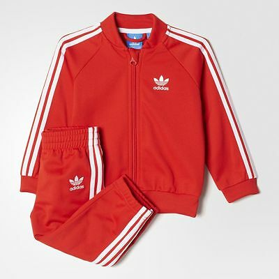 Bnwt Adidas Kids Full Tracksuit Jacket & Bottoms Superstar Uk 4/5 Years Red