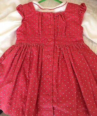 VGC 0-3 months M&S Red Cord Dress & Long Sleeve Top