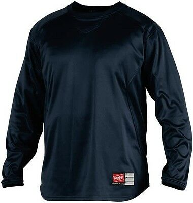 Baseball -Rawlings UDFP2 Dugout Fleece Pullover - Black - ADULT SMALL