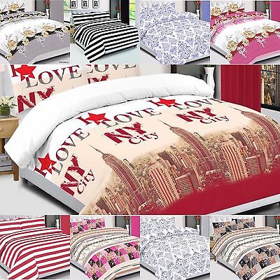 Duvet Cover with Pillow Case Quilt Cover Bedding Set Single Double King 4 pieces