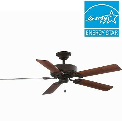 52 in. Indoor Oil-Rubbed Bronze Ceiling Fan, Reversible Blades B/W 2 Stlyes