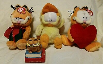Vintage Garfield Character Ceramic Figure Lot TY Beanie Baby