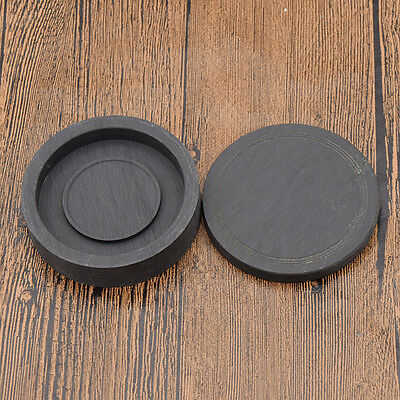 Japanese Chinese Calligraphy Ink Stone Round Black Inkwell Ink Slab Writing Tool
