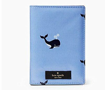 KATE SPADE Daycation WHALE Passport Holder Preppy Blue New Cute Nautical