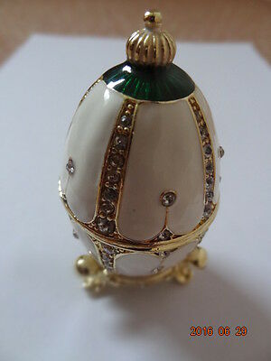 Collectable Atlas Editions Nest of Pearls Enamel Faberge Egg Trinket/Pill Box