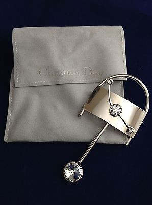 Estate Vintage RARE Christian Dior Silver tone Swinging Pendulum Pin Brooch