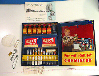Vtg 1936 To Wwii Gilbert Chemistry Outfit With A Lot Of Items & Instruction Book